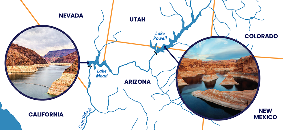 Lake Powell and Lake Mead Locations