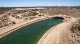 Canal scenic Hassayampa Pumping Plant outlet drone aerial May 10, 2016 Central Arizona Project photo by Philip A. Fortnam