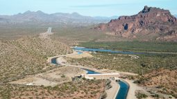 Canal at Salt Gila Pumping Plant aerial November 16, 2017 Central Arizona Project photo by Philip A. Fortnam