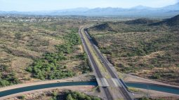 CAP canal crosiing under AZ State Route 87 - the Beeline Highway. October 17, 2019 Central Arizona Project photo by Philip A. Fortnam